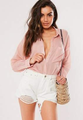 Missguided Pink Pinstripe Oversized Shirt