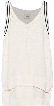 Charli Tansy Open Knit-trimmed Cotton-blend Top