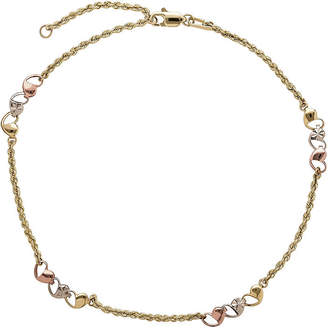 JCPenney FINE JEWELRY 10K Tri-Tone Gold Openwork Heart Anklet