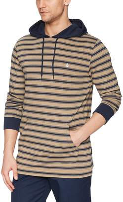 Volcom Men's Briggs Striped Long Sleeve Hooded Shirt