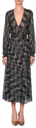 Missoni V-Neck Long-Sleeve Flame-Stitch Wrap Dress