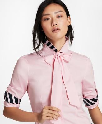Brooks Brothers Bow-Neck Stretch Cotton Poplin Shirt