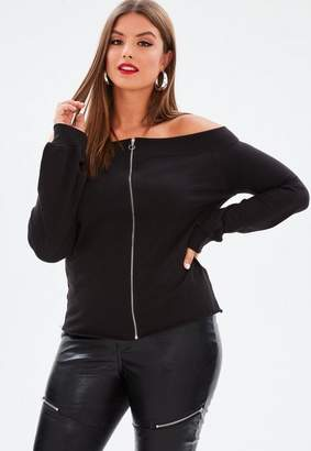 Missguided Curve Black Bardot Zip Front Raw Hem Sweatshirt