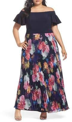 Xscape Evenings Ruffle Sleeve Off The Shoulder Pleated Maxi Dress
