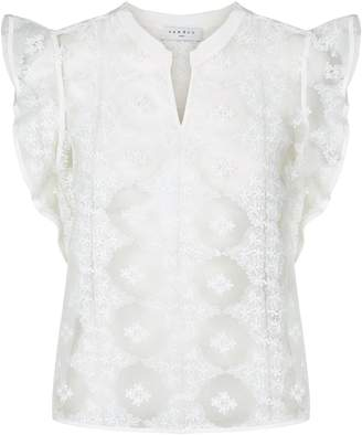 Sandro Embroidered Sheer Blouse