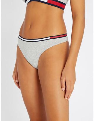 Tommy Hilfiger Stripe-trim mid-rise stretch-cotton thong