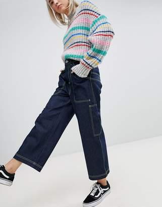 Asos Design DESIGN workwear Skater jeans with neon threads in clean indigo