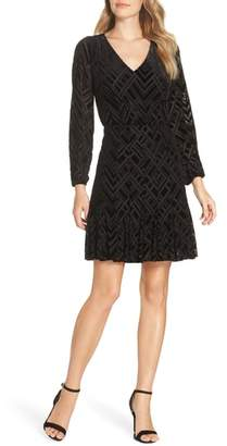 Julia Jordan Velvet Burnout Fit & Flare Dress