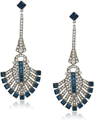 "Swarovski Ben-Amun Jewelry""Deco Crystal Sapphire Deco Fan For Bridal Wedding Anniversary Drop Earrings"