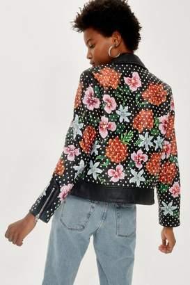 Topshop Floral Leather Biker Jacket