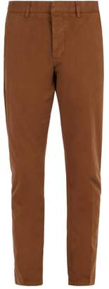 Ami Tapered Leg Cotton Cropped Trousers - Mens - Camel