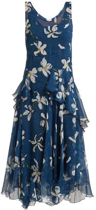 Isa Arfen Magnolia-print silk dress