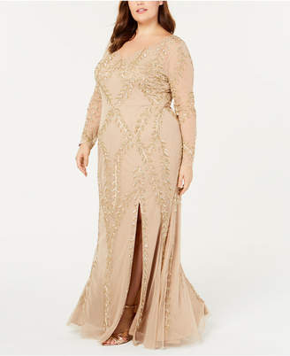 7946f6ad3f6 Adrianna Papell Plus Size Long-Sleeve Beaded Evening Gown