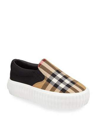Burberry Erwin Check Sneakers, Toddler