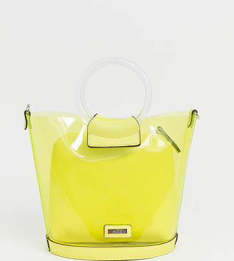 5a0c90144 Aldo Miroang neon yellow clear tote bag with removable pouch