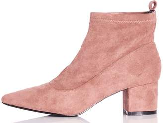 Quiz Blush Pink Faux Suede Ankle Boot