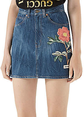 Gucci Women's Floral-Embroidered Denim Mini Skirt
