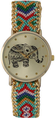 OLIVIA PRATT Olivia Pratt Womens Mint Braided Elephant Print Dial Strap Watch 14811