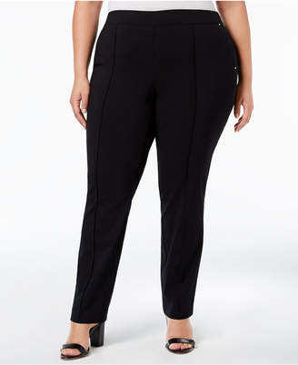 JM Collection Plus Size Straight-Leg Pull-On Pants, Created for Macy's