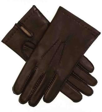 Black Men's Dark Brown Cashmere Lined Leather Gloves