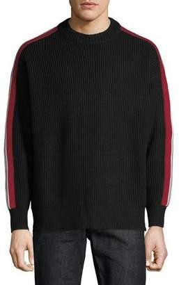 Burberry Men's Iowa Stripe-Sleeve Crewneck Sweater
