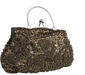 BMC Beaded Sequin Design Metal Frame Kissing Lock Satin Clasp Interior Evening Clutch - Exuding Eloquence Collection