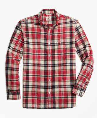 Brooks Brothers Plaid Crepe Madras Sport Shirt