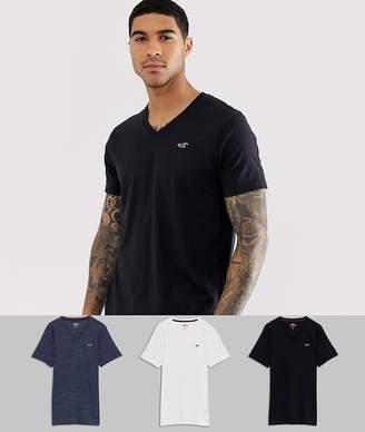 Hollister 3 pack v-neck t-shirt seagull logo slim fit in black/grey/navy