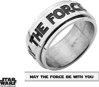 """Star Wars Deals Daily Stainless Steel """"MAY THE FORCE BE WITH YOU"""" Spinner Ring"""