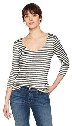 Michael Stars Women's Shine 3/4 Sleeve Stripe V-Neck Top