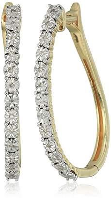 10k Yellow Gold Diamond Accent Hoop Earrings