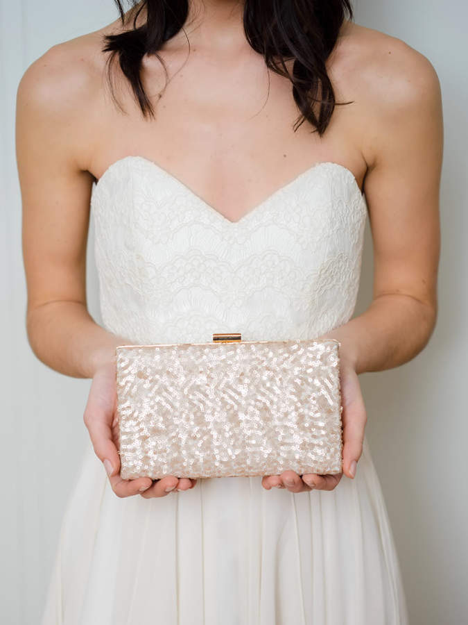 Etsy Rose Gold Clutch | Gold Wedding Clutch | Sequin Clutch | Blush Bridal Clutch [Ella Box Clutch]