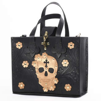 Black Leather & Gold Skull Tote Bag