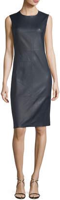 Theory Eano Sleeveless Leather Sheath Dress