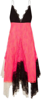 Christopher Kane Asymmetric Color-block Lace Midi Dress - Bright pink