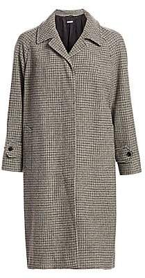 Miu Miu Women's Long-Sleeve Wool Check Coat