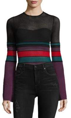 Ronny Kobo Multicolored Mesh Bodysuit