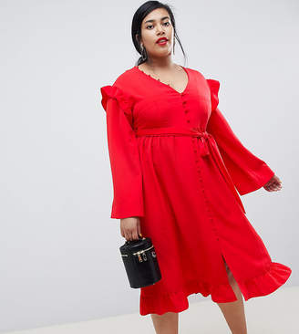 Lost Ink Plus Midi Tea Dress With Frill Sleeve And Tie Waist