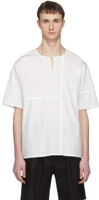 Phoebe English Off-White Short Sleeve Patched Henley