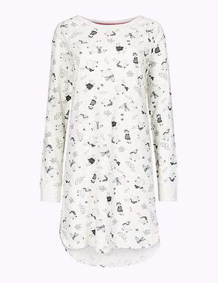 Marks and Spencer Cotton Rich Llama Print Nightdress