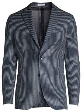 Stripe Knit Jersey Chambray Jacket
