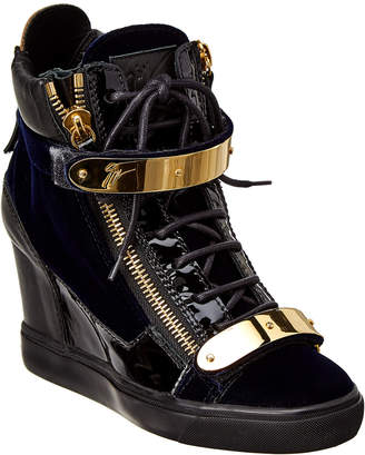 Giuseppe Zanotti Velvet & Patent Wedge High-Top Sneaker