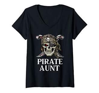 Womens Pirate Aunt Family Jolly Roger Skull V-Neck T-Shirt
