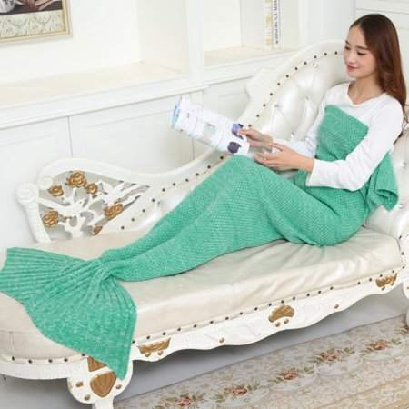daydayup Soft Yarn Knitted Mermaid Tail Blanket Handmade Crochet Mermaid Blanket