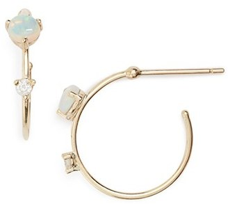 Women's Wwake 'Counting Collection - Small Two-Step' Opal & Diamond Hoop Earrings $810 thestylecure.com
