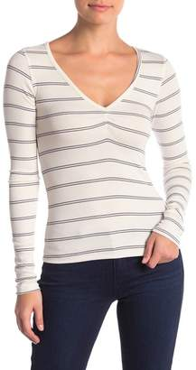 Project Social T Long Sleeve Ribbed Ruched V-Neck Tee