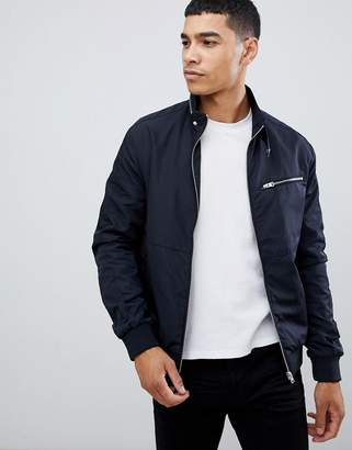 New Look jacket with racer neck in navy