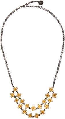 Freida Rothman Floral Two-Row Cubic Zirconia Bib Necklace