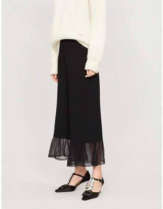 See by Chloe Sheer-panel high-rise wide-leg crepe trousers