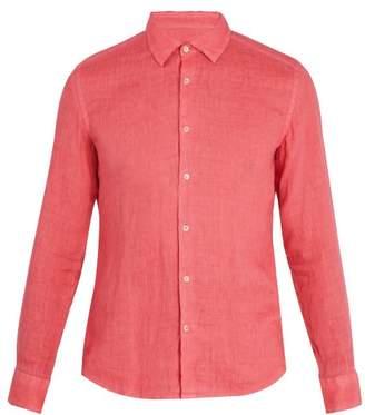 Altea Point Collar Linen Shirt - Mens - Red
